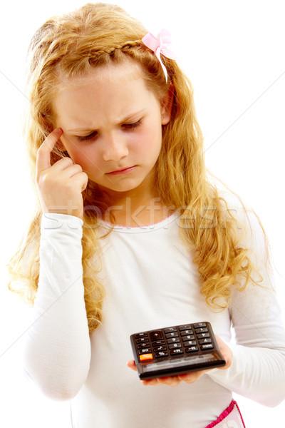 Megállapítás megoldás portré aranyos lány néz Stock fotó © pressmaster