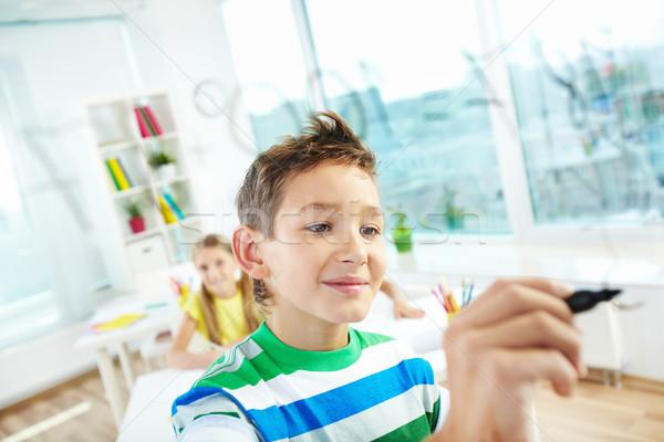 Intelligente scolaro ritratto ragazzo trasparente bordo Foto d'archivio © pressmaster