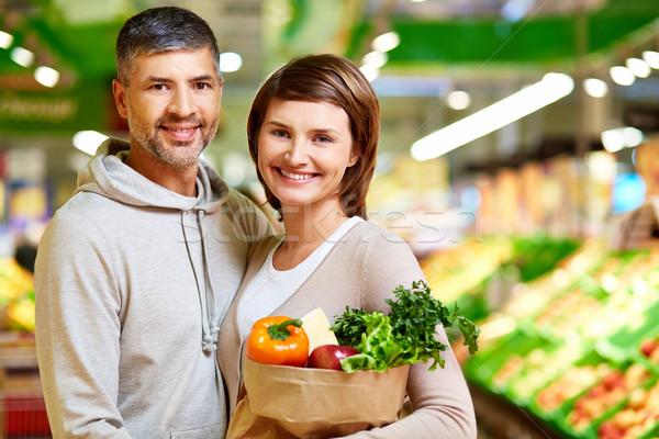 Derűs fogyasztók kép boldog pár egészséges Stock fotó © pressmaster