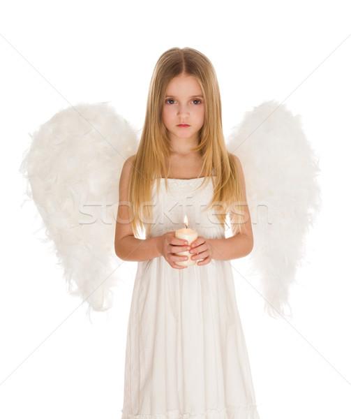 Ange bougie portrait fille angélique costume Photo stock © pressmaster
