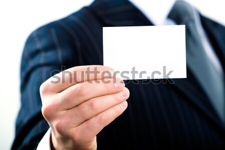 Photo stock: Vide · carte · de · visite · homme · d'affaires · affaires · papier