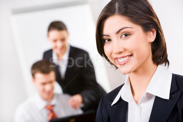 Foto stock: Executivo · consultor · feliz · sorrir · trabalhando · ambiente