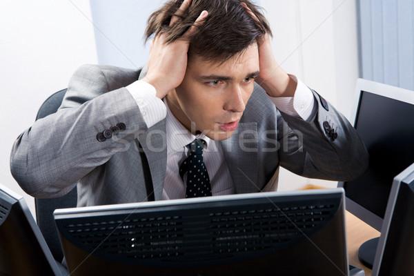 Gond portré csalódott munkáltató ül számítógép Stock fotó © pressmaster
