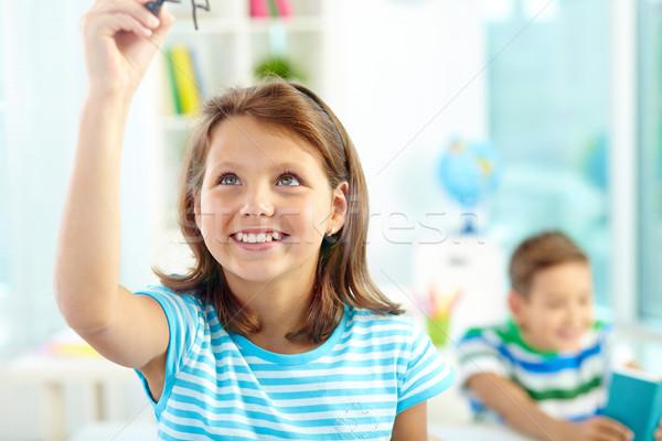 Smart портрет улыбаясь девушки прозрачный совета Сток-фото © pressmaster