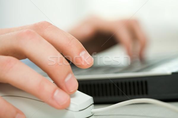 стороны мыши человеческая рука белый компьютер Сток-фото © pressmaster