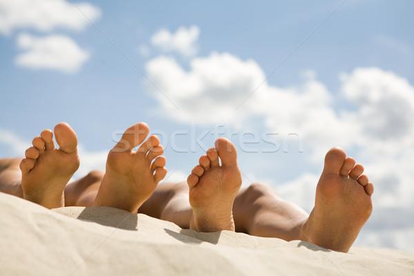 Foto stock: Relaxante · imagem · duas · pessoas · praia · praia · céu