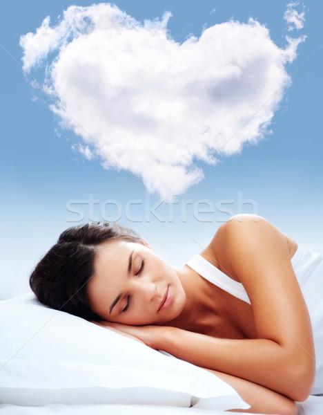 Szeretet álmok portré fiatal lány alszik párna Stock fotó © pressmaster