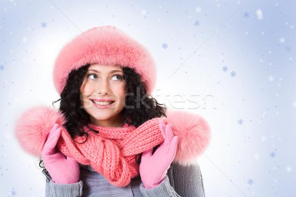 Zdjęcia stock: Zimą · wesoły · kobieta · różowy · futra · cap