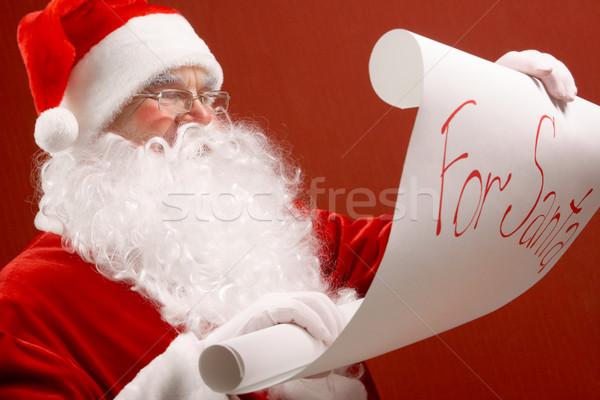 Сток-фото: Рождества · портрет · Cute · Дед · Мороз · чтение · большой