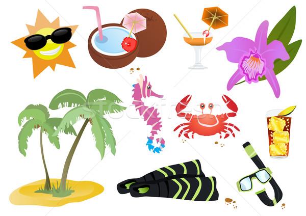Belo verão ícones símbolos peixe projeto Foto stock © pressmaster