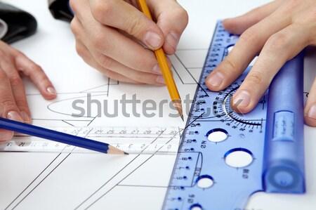 Stock fotó: Férfi · férfi · kezek · dolgozik · ceruza · vonalzó