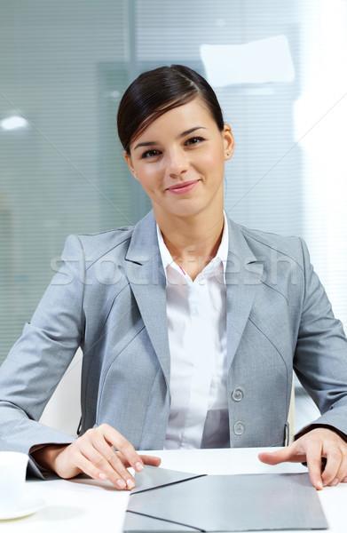 работодатель изображение молодые таблице бизнеса женщину Сток-фото © pressmaster