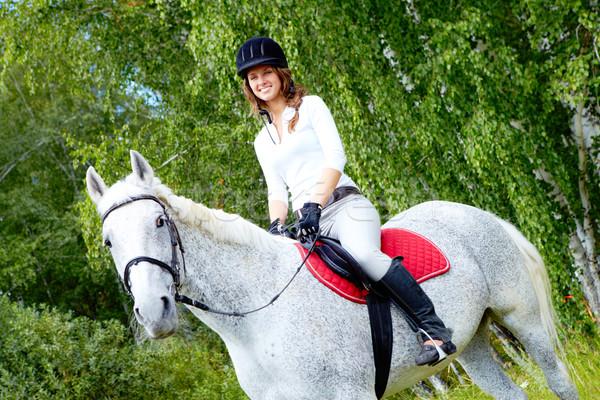 ストックフォト: 画像 · 幸せ · 女性 · ジョッキー · 馬