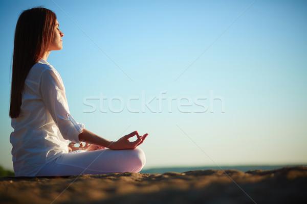 Stock fotó: Zen · oldalnézet · meditál · nő · ül · póz