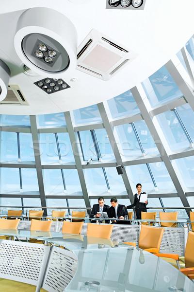 Konferans salonu camsı tablo sandalye büyük pencere Stok fotoğraf © pressmaster