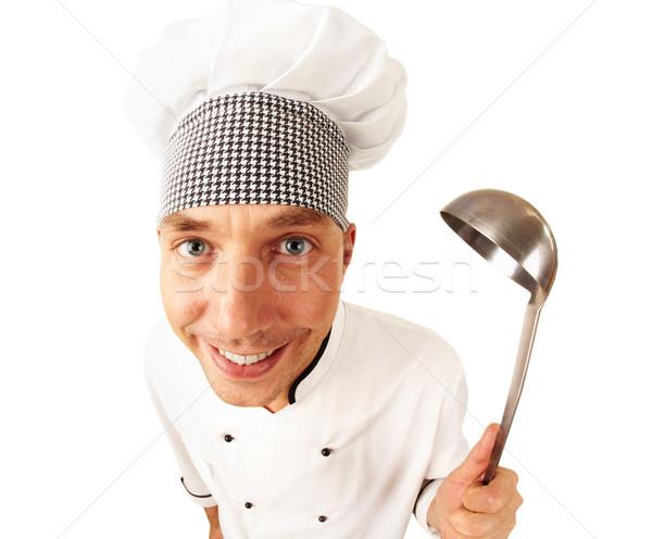 Stok fotoğraf: Mutlu · pişirmek · portre · yakışıklı · adam · üniforma · yalıtılmış