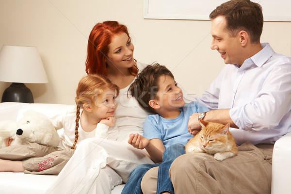 Stock fotó: Otthon · kíváncsi · gyerekek · nő · néz · jóképű · férfi