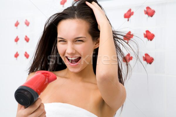 Stock fotó: Hajápolás · fotó · örömteli · női · haj · mosás