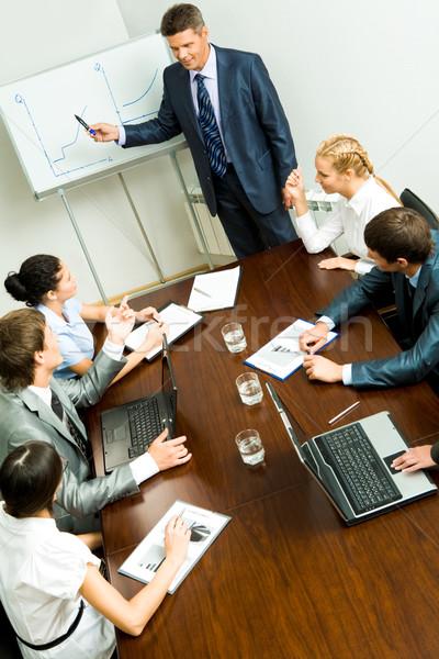 Stock fotó: Előadás · fölött · szög · üzletemberek · hallgat · férfi