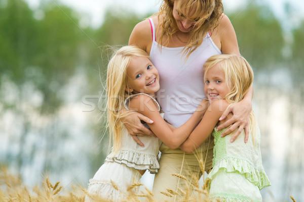 Foto stock: Gêmeo · irmãs · mãe · smiles