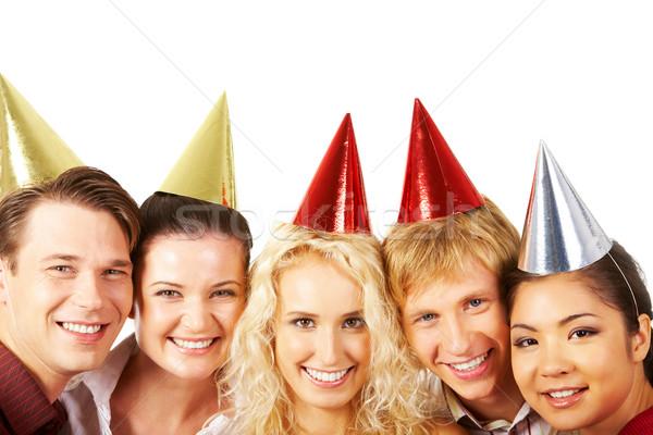 Stok fotoğraf: Doğum · günü · sevinç · yüzler · pozitif · insanlar · bakıyor