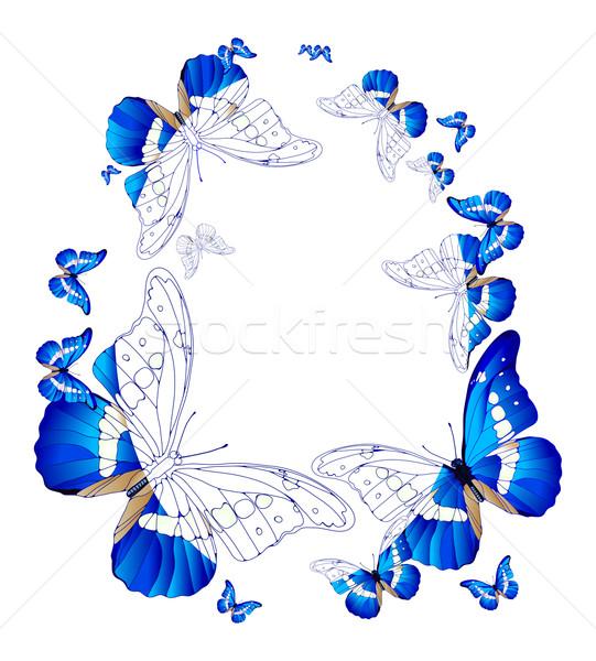 овальный кадр синий бабочки весны бабочка Сток-фото © pressmaster