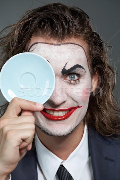человека блюдце портрет бизнесмен окрашенный лице Сток-фото © pressmaster