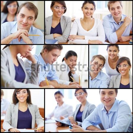 Fehérgalléros munkások kollázs sikeres üzlet nő Stock fotó © pressmaster