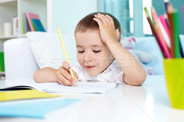 創造 宿題 笑みを浮かべて 子 図面 練習帳 ストックフォト © pressmaster