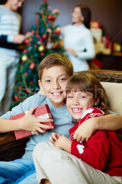 Genegenheid portret gelukkig broers en zussen naar camera Stockfoto © pressmaster