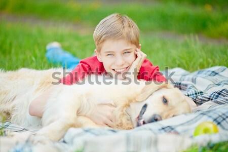 レジャー 犬 肖像 かわいい 若者 ふわっとした ストックフォト © pressmaster