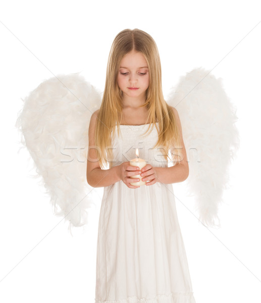 Modlić portret biały anioł palenie Zdjęcia stock © pressmaster