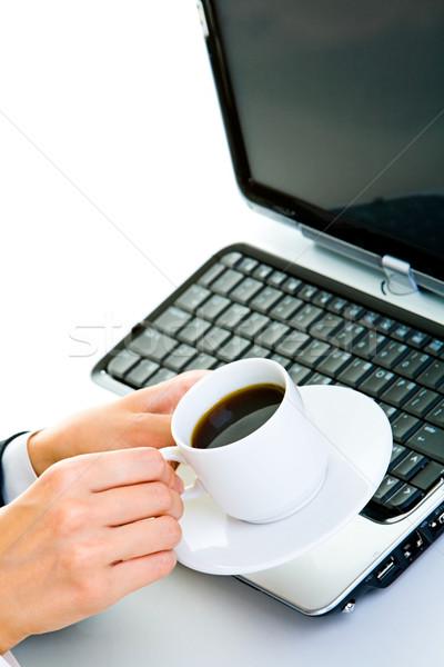 Pausa caffè primo piano imprenditrice business caffè lavoro Foto d'archivio © pressmaster