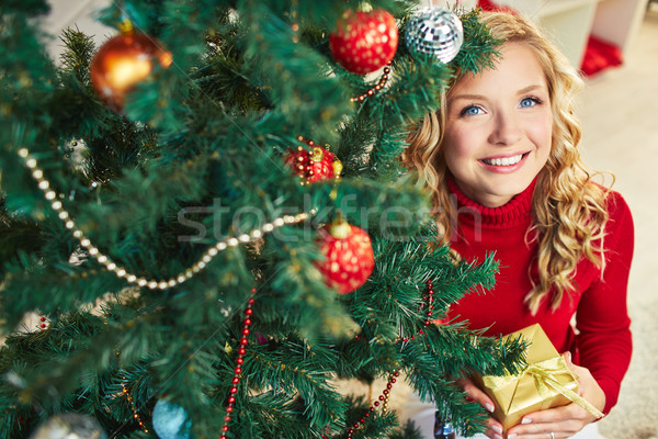 Zdjęcia stock: Kobieta · uśmiechnięty · kobiet · patrząc · kamery · na · zewnątrz