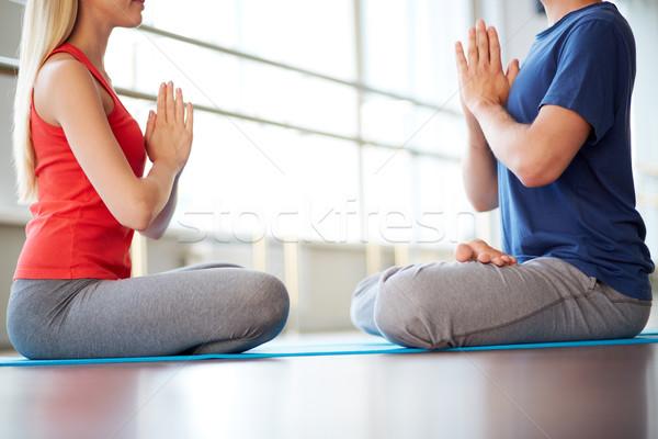 Harmónia kép fiatal nő férfi jóga testmozgás Stock fotó © pressmaster