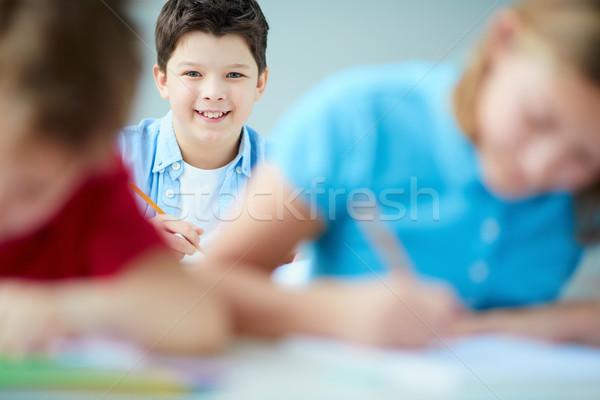 Lad dessin portrait cute écolier regarder Photo stock © pressmaster