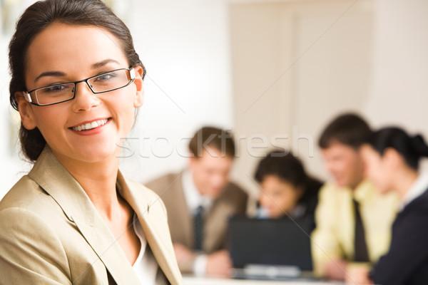 Foto stock: Líder · retrato · mujer · gafas · de · trabajo · gente · de · negocios