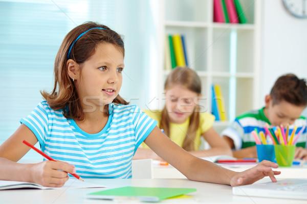 Photo stock: écolière · leçon · portrait · cute · fille · travail