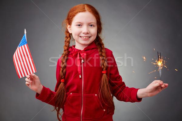 американский девушки Cute свет американский флаг глядя Сток-фото © pressmaster