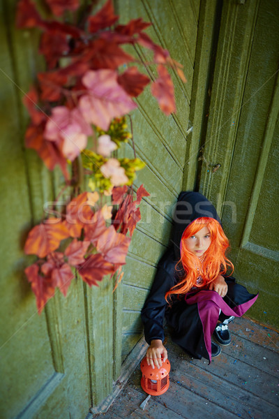 мрачный девушки Хэллоуин традиционный костюм сидят Сток-фото © pressmaster