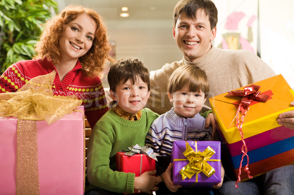 Family with presents Stock photo © pressmaster
