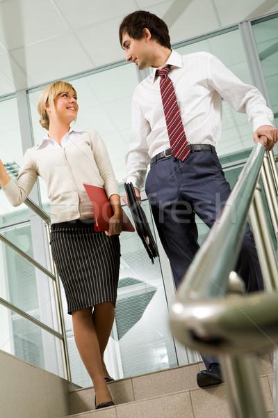 Stok fotoğraf: Ortaklar · merdiven · görüntü · kadın · erkek · ayakta
