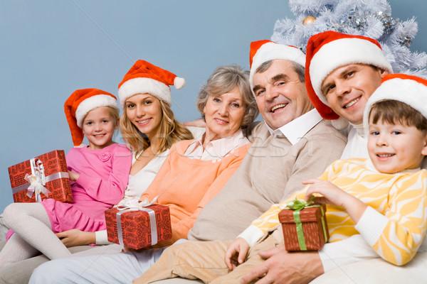 Stok fotoğraf: Noel · aile · portre · mutlu · aile · kadın
