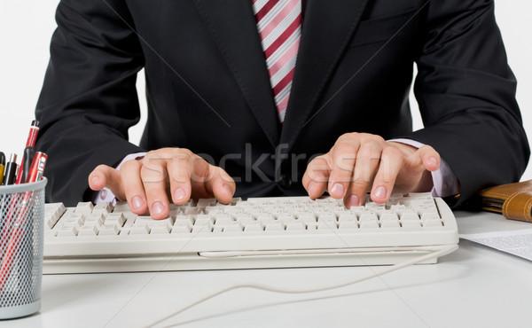 набрав фото мужчины рук белый клавиатура Сток-фото © pressmaster