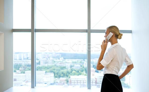 Stockfoto: Vrouw · roepen · afbeelding · smart · zakenvrouw · praten