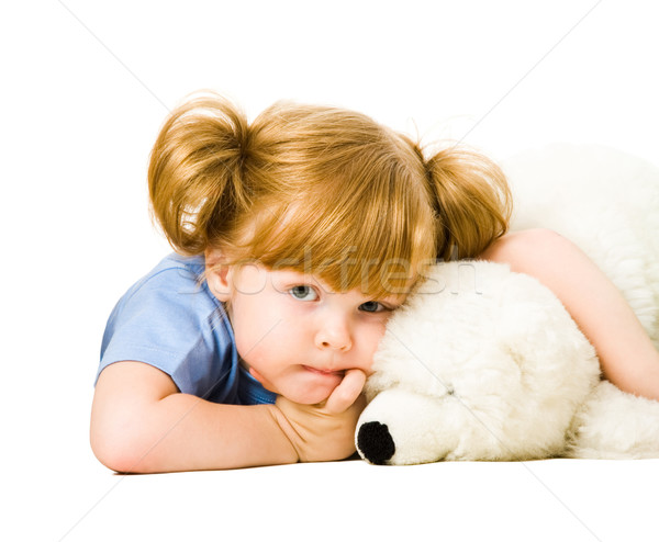 Photo stock: Tendre · enfant · portrait · Nounours · fille · enfants