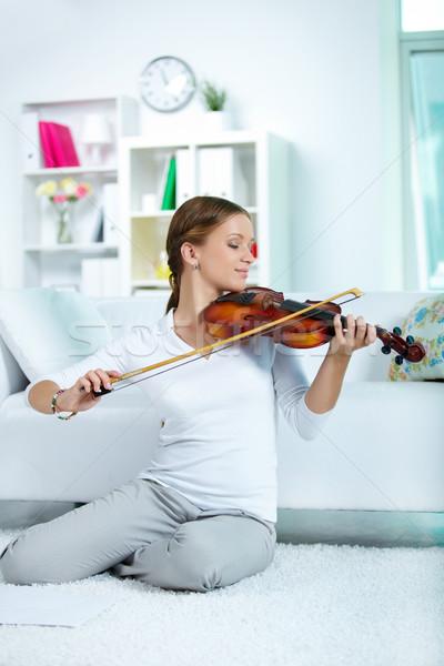 счастливым скрипач портрет молодые женщины играет Сток-фото © pressmaster