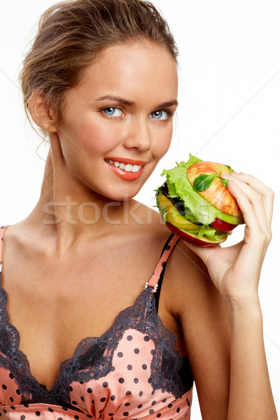 Brunch retrato bastante jovem vegetal burger Foto stock © pressmaster