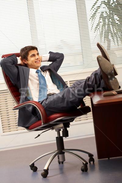 Stock fotó: üzlet · törik · portré · jóképű · alkalmazott · fotel