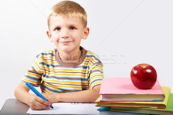 Pracowity chłopca uczeń patrząc kamery książki Zdjęcia stock © pressmaster